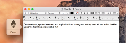 When dictation starts, a microphone icon appears onscreen.