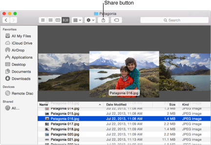 Share button in a Finder window toolbar