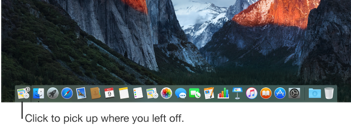 An app's Handoff icon at the left side of the Dock