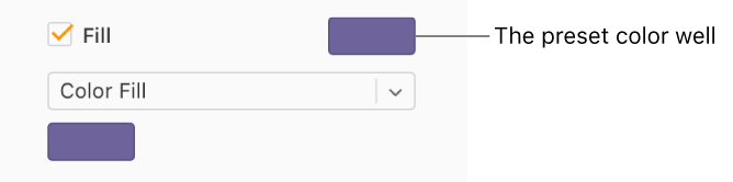 The Fill Checkbox Is Selected In Sidebar And Preset Color Well To