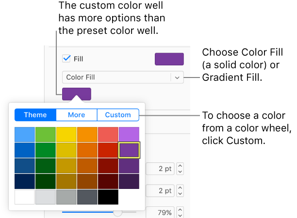 Color Fill Is Selected In The Pop Up Menu And Well