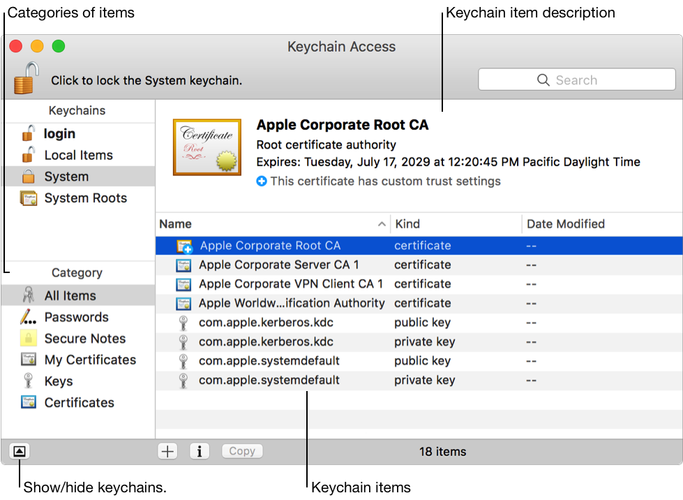 macos sierra: manage passwords using keychains