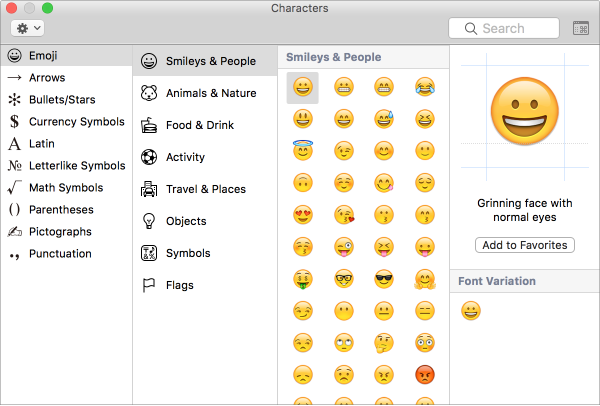 Macos Sierra Use Emoji And Symbols