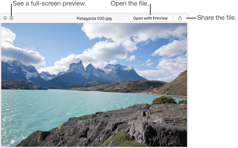 An image in the Quick Look window, with buttons to see a full-screen preview, open the file, or share it