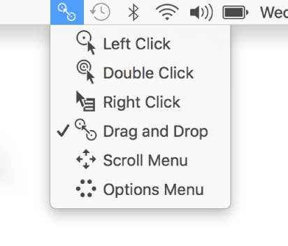 Dwell Control status menu whose menu items include, from top to bottom, Left Click, Double Click, Right Click, Drag and Drop, Scroll Menu, and Options Menu