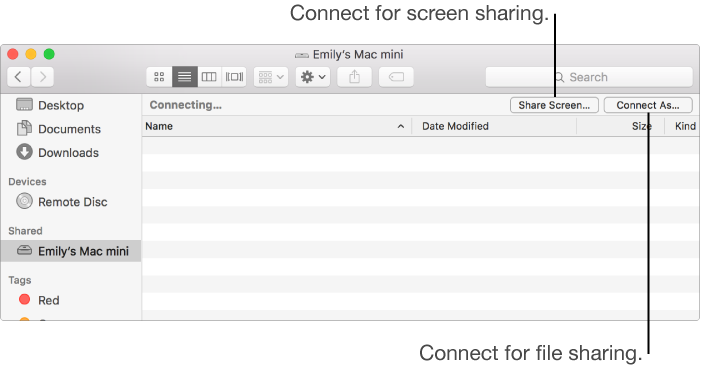 Shared section of the Finder sidebar with a Mac selected