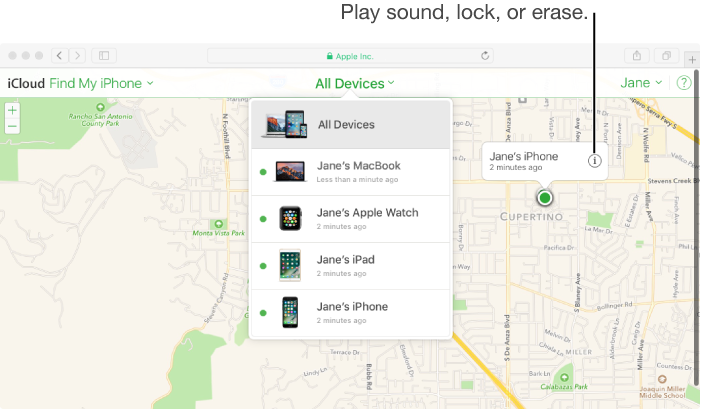 Map in Find My iPhone on iCloud.com showing the location of a Mac