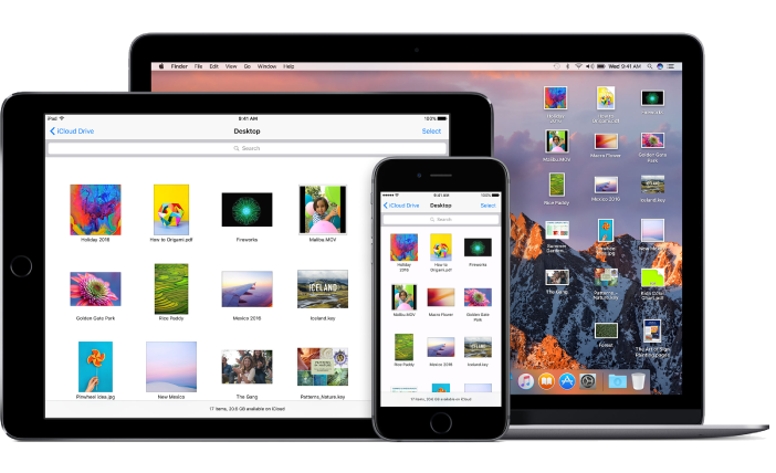 The same files and folders appear in iCloud Drive in a Finder window on a Mac, the iCloud Drive app on iPhone, and the iCloud Drive app on iPad