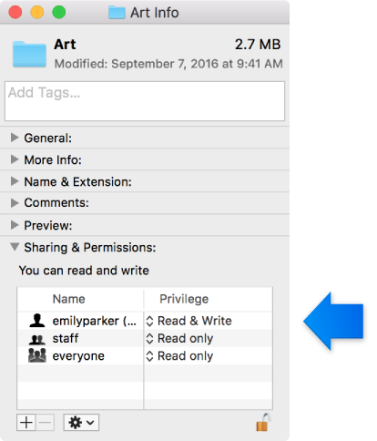 macOS Sierra: Set permissions for items on your Mac