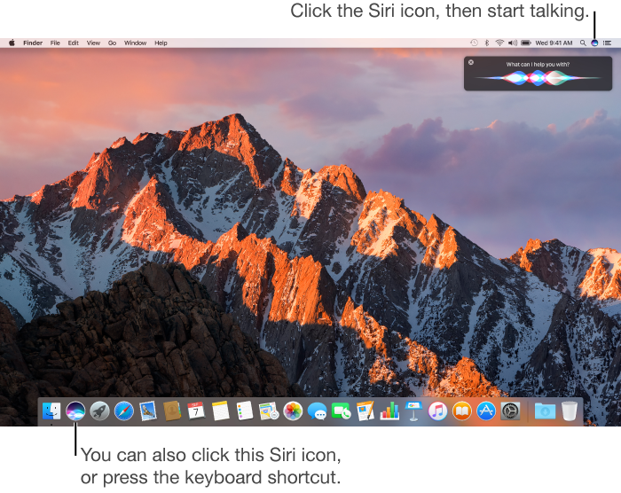 A Mac desktop, with the Dock at the bottom and the Siri window visible in the top-right corner. To start using Siri, click the Siri icon in the menu bar, click the Siri icon to the right of Finder in the Dock, or press and hold Command-Space bar
