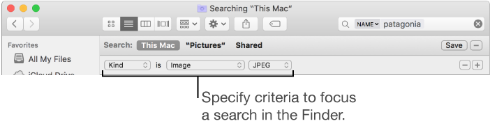 Finder window with fields to specify search criteria