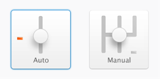 Buttons for choosing auto or manual targeting.