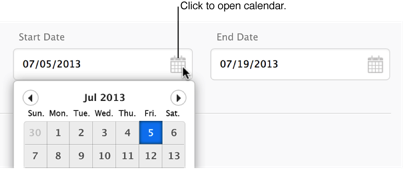 Click the calendar icon to open the calendar.