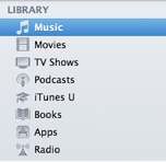 Picture of categories in the iTunes Library list: Music, Movies, TV Shows, Podcasts, iTunes U, Books, Apps