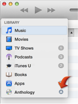 Library pop-up menu with arrow pointing to the Eject button for a CD