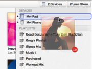 A screenshot of an album being dragged to a device, the device is highlighted