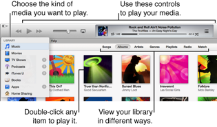 Choose the kind of media you want to play from the Library pop-up menu, use the controls at the top to play your media, double-click any item to play it, use the buttons in the navigation bar to view your library in different ways