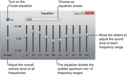 Click the On checkbox to turn on the iTunes equalizer, choose an equalizer preset from the pop-up menu, adjust the overall volume of frequencies with the pre-amp, move the sliders to adjust the sound level of different frequency ranges