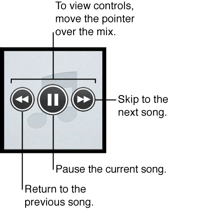 The Genius Mix controls: To view controls, move the pointer over the mix. You can return to the previous song, pause the current song, or skip to the next song.