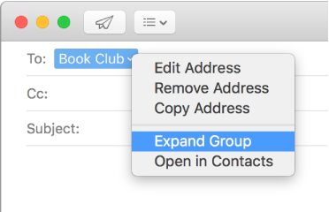 Contacts for Mac: Email a group from Contacts