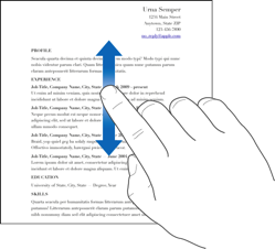A finger swiping up and down in a document