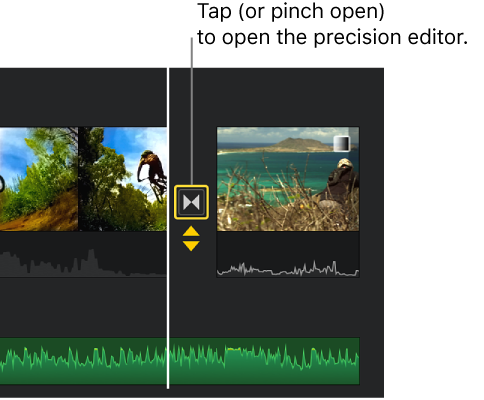 iMovie for iOS (iPad): Extend audio from one video clip over