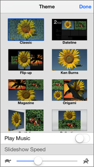 Tap Music to use a song other than the theme music included with iPhoto
