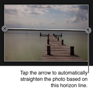 Tap the arrow to automatically straighten the photo based on the horizon line