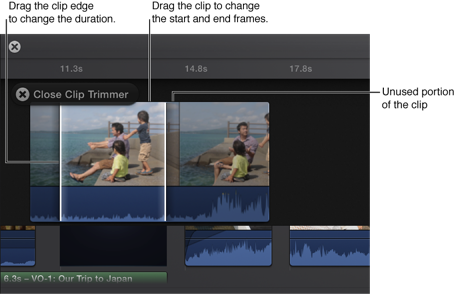 clip trimmer drag clip edges to change the clip duration drag the
