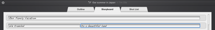 Figure. Entering text in trailer Storyboard pane.