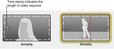 Figure. Trailer placeholders with time stamp indicating the length of video required.