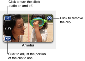 Figure. Placeholder well containing clip. Click the speaker to turn the clip's audio on and off; click the circular arrow to remove the clip from the placeholder; click the double arrows to open the clip trimmer.