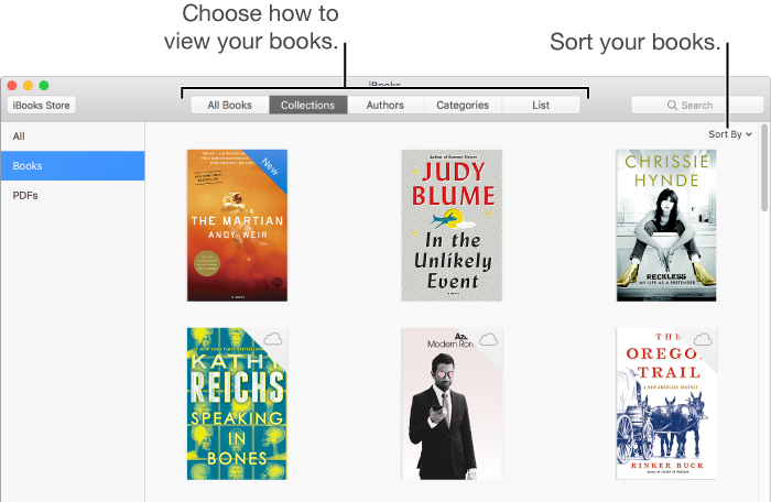 Options in your iBooks library.