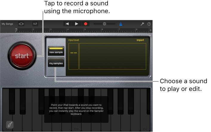 GarageBand for iOS (iPad): Play sounds with the Sampler
