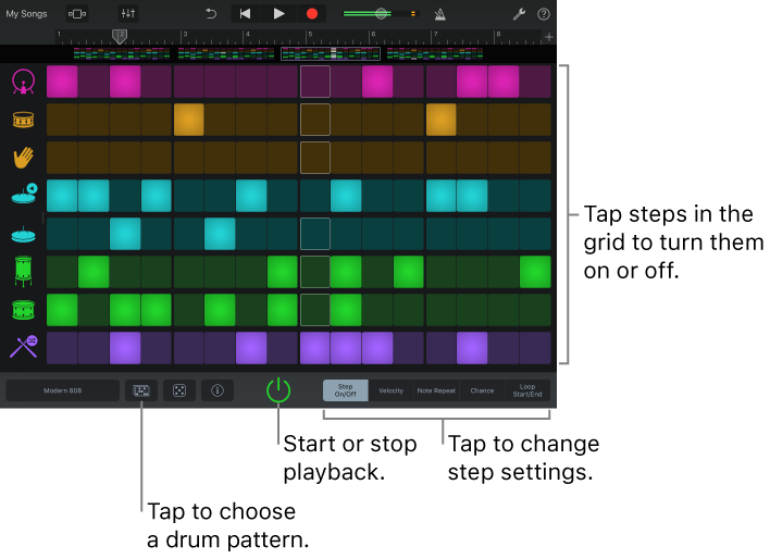 GarageBand For IOS IPad Create Drum Patterns With The Beat Sequencer Stunning Drum Patterns
