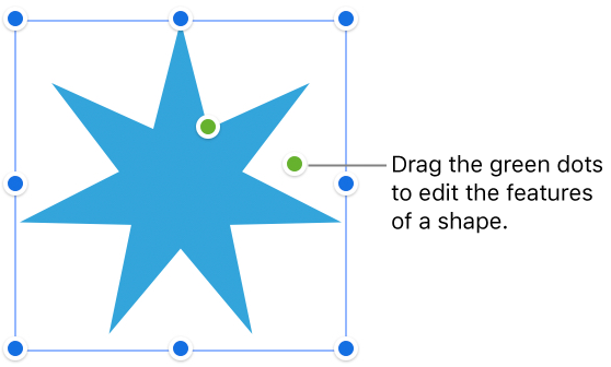 A shape with selection handles.