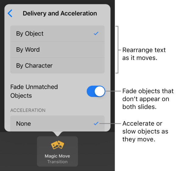 Magic Move delivery and acceleration options in the Acceleration pane.