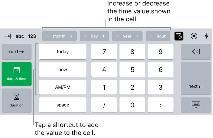 Numbers for iPad: Add a date, time, or duration