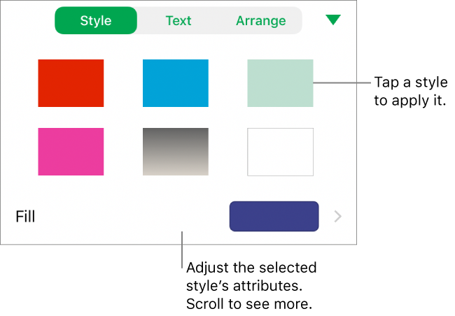 The Style tab of the Format menu with shape styles at the top and a fill color well below.