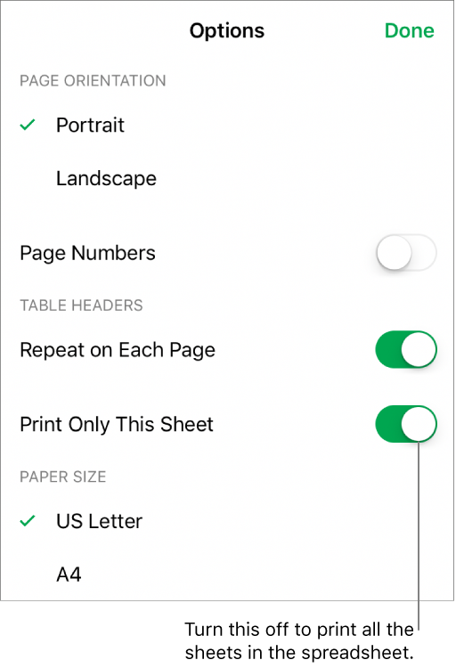 how to change paper size when printing from iphone