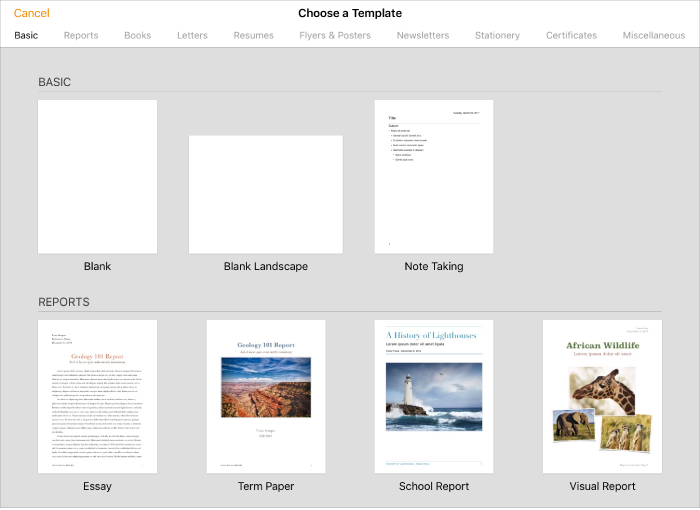 The Template Chooser Showing Predesigned Templates You Can Use To Begin Creating Doents