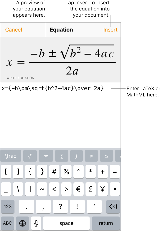 Pages for iPhone: Add mathematical equations in Pages
