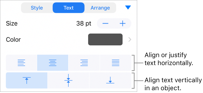 Keynote for iphone add and edit shapes in keynote for Text align top