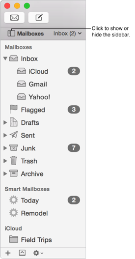 The Mail sidebar showing different accounts and mailboxes, and indicating the Mailboxes button for showing or hiding the sidebar.