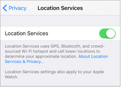 The Location Services setting turned on in Privacy settings.