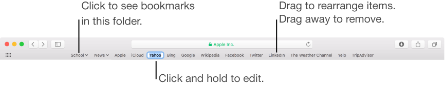 Favorites bar with a bookmarks folder. To edit a bookmark or folder in the bar, click and hold it. To rearrange items in the bar, drag them. To remove an item, drag it away from the bar.
