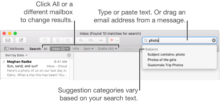 Mail for Mac: Search for messages in Mail