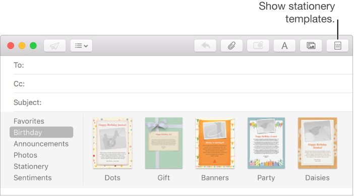 Mail for Mac: Personalize messages with stationery