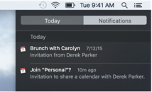 Calendar event notification and shared calendar notification in Notification Center