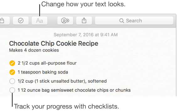 Use the Format button to change how text looks and checklists to track progress